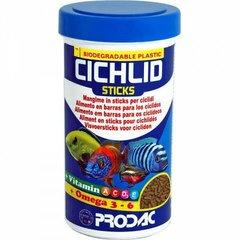 Pulgad tsüklididele Prodac Cichlid Sticks 250ml 90g hind ja info | Toit kaladele | kaup24.ee