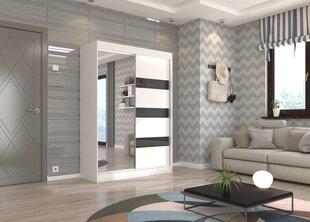 Riidekapp Adrk Furniture Toura 150 cm, valge/must hind ja info | Kapid | kaup24.ee