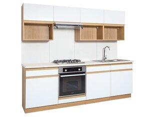 Köögikappide komplekt BRW Semi Line 240 VER A, valge/pruun hind ja info | Köögimööbli komplektid | kaup24.ee