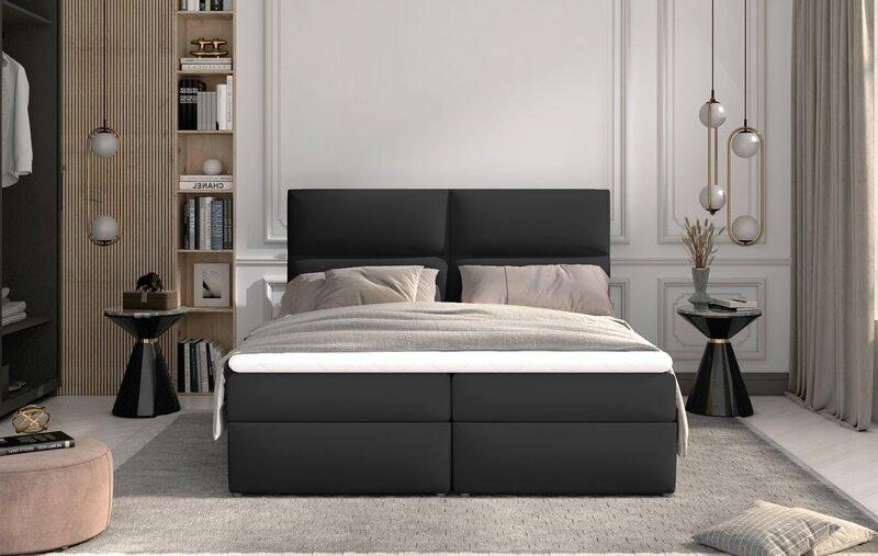 Кровать NORE Amber, 160x200 см, черная эко кожа цена