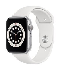 Apple Watch Series 6, 44мм, Silver Aluminium Case with White Sport Band цена и информация | Смарт-часы (smartwatch) | kaup24.ee