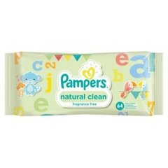 Niisked salvrätikud Natural Clean PAMPERS, 64 tk