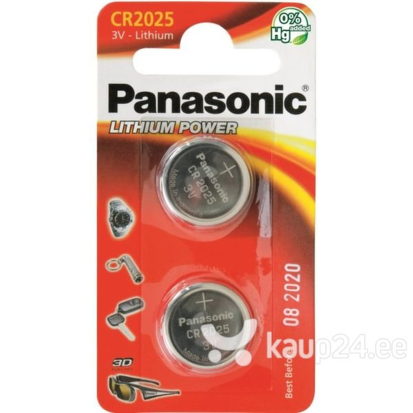 Panasonic patarei Lithium CR2025 2BP, 2 tk
