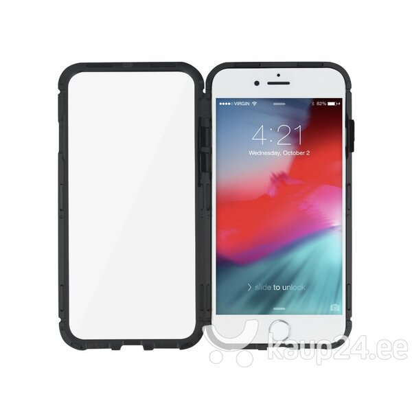 Mocco Double Side Aluminum Case 360 With Tempered Glass For Apple iPhone 6 / 6S Transparent - Black Internetist