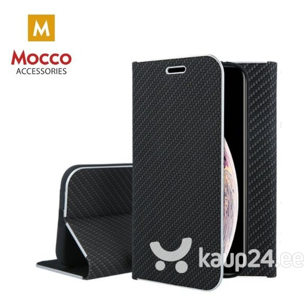 Mocco Carbon Leather Book Case For Apple iPhone X / XS Black hind ja info | Telefoni kaaned, ümbrised | kaup24.ee