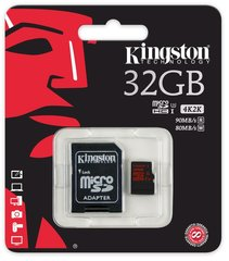 Mälukaart Kingston microSDHC 32 GB, 10 klass + SD adapter