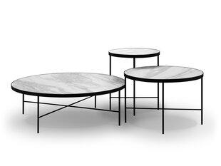 3 kohvilaua komplekt Interieurs86 Orsay, valge/must hind ja info | Diivanilauad | kaup24.ee