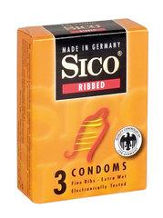 Kondoomid SICO Ribbed, 3 tk