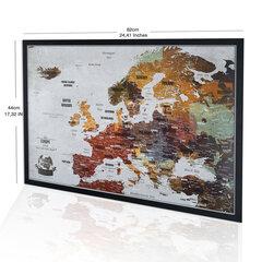 Euroopa kaart tihvtidega Boonus 100 tihvti, raamiga seikluskaart, originaal värvidega isikupärastatud kaardid, valmistatud EL-is, 53x3x43 cm, kaart on kasutamiseks valmis hind ja info | Maailmakaardid | kaup24.ee