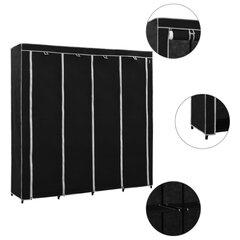 vidaXL garderoob 4 sektsiooniga, must 175 x 45 x 170 cm hind ja info | Kapid | kaup24.ee