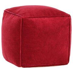 vidaXL tumba, puuvillane samet, 40 x 40 x 40 cm rubiinpunane hind ja info | Kott-toolid, tumbad, järid | kaup24.ee
