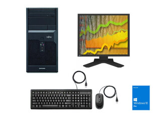 "Fujitsu P2560 E7400 4GB 240GB SSD DVD Win 10 Pro + 19"" Eizo monitors & mouse & keyboard hind ja info   Lauaarvutid   kaup24.ee"