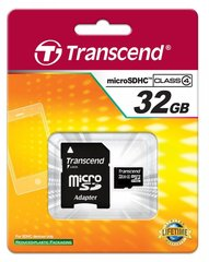 Transcend 32GB microSDHC, klass 4 + SD adapter