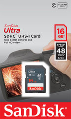 Mälukaart SANDISK 16GB Ultra SDHC 48MB/s Class 10 UHS-I hind ja info | Mälukaart SANDISK 16GB Ultra SDHC 48MB/s Class 10 UHS-I | kaup24.ee