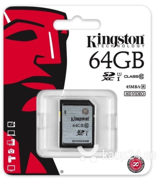 Mälukaart Kingston SDXC GenII U1 64GB 10 klass