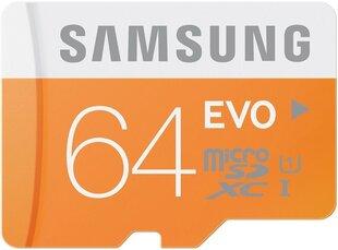 Mälukaart Samsung micro SDXC EVO 64GB class10 U1 +adapter цена и информация | Карты памяти | kaup24.ee