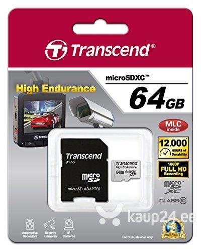 Mälukaart Transcend 64GB microSDXC 10 klass + SD adapter hind