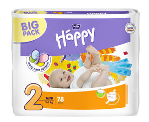 Mähkmed Happy Mini, suurus 2, 3-6 kg, 78 tk