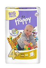Mähkmed Happy Maxi Plus, suurus 4+, 9-20 kg, 62 tk