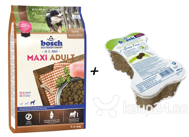 Kuivtoit koertele Maxi Adult 3kg+Goodies Grain Free 450g