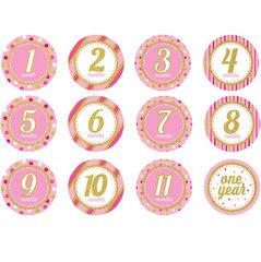 """Наклейки """"Первый год"""", розовый блеск (12 шт.)"""