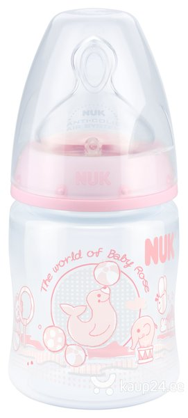 Pudel silikoonist lutiga NUK First Choice Rose 0-6 kuud, 150 ml