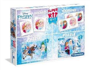 Pusle, mälumängu ja doomino komplekt Clementoni Frozen hind ja info | Pusled | kaup24.ee