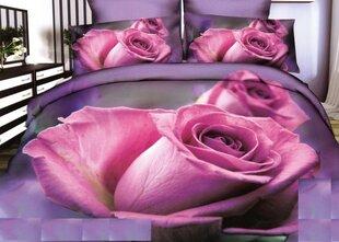 3D voodipesukomplekt, 3-osaline, roosad roosid lillal taustal
