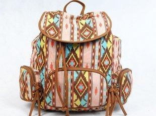 Naiste seljakott TARA, sinine/roosa/kollane/pruun/roheline III