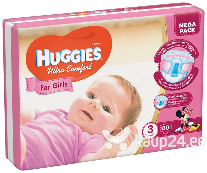 Mähkmed HUGGIES Ultra Comfort Girls, suurus 3, 80tk