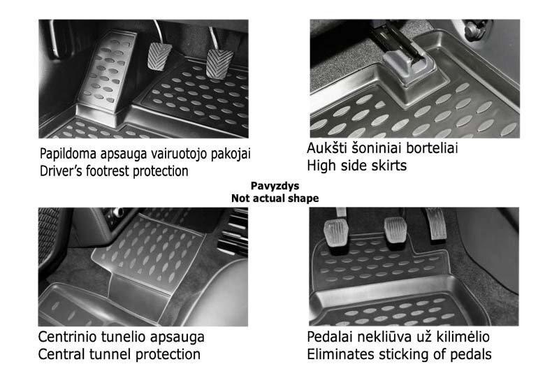 Kummimatid 3D MERCEDES-BENZ B-Class W246 2011->, 4 pcs. /L46001 soodsam